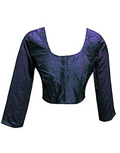 (Designer Women Choli Indian Blue Raw Silk Blouse Wedding Party Wear Best Match for Saree By Ethnic Emporium)
