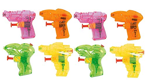 (Kidsco Mini Squirt Water Gun 3.5 Inches - Pack of 8 - Assorted Bright Colors Cool Water Squirters - for Kids Great Party Favors, Bag Stuffers, Fun, Toy, Gift,)