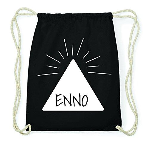 JOllify ENNO Hipster Turnbeutel Tasche Rucksack aus Baumwolle - Farbe: schwarz Design: Pyramide