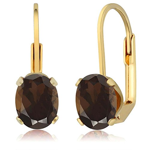 2.40 Ct Oval Shape Brown Smoky Quartz Yellow Gold Plated Brass Earrings
