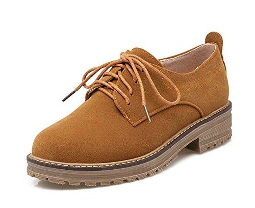 Oxford Up Shoes Pump Lace (Aisun Women's Casual Simple Round Toe Platform Dress Lace up Flats Pumps Oxfords Shoes Camel 8.5 B(M) US)