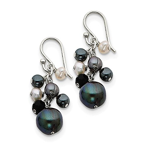 .925 Sterling Silver Crystal, Hematite & Peacock & White Freshwater Cultured Pearl Dangle Earrings