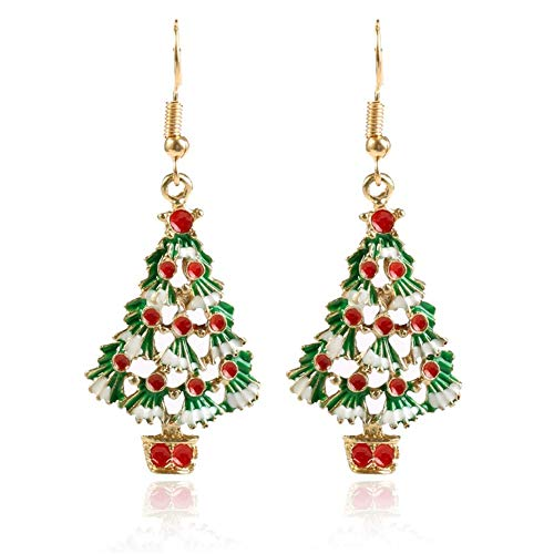 Colorful Christmas Drop Dangle Earrings Set, AILUOR Jewelry Set for Thanksgiving Womens Girls Kids Including Xmas Missing Hat Christmas Tree Jingle Bell Earrings Themed Gift (C) (Christmas Themed Ideas Trees)