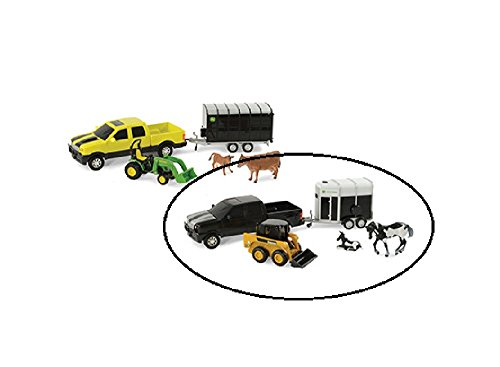 John Pickup Deere - John Deere 1/32 Pickup Animal Hauling Set - Black