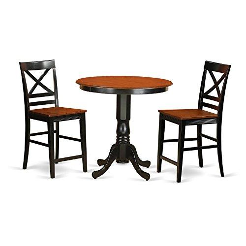 East West Furniture JAQU3-BLK-W 3 Piece Pub Table and 2 Kitchen Bar Stool Set (42 Black Cherry Pub)
