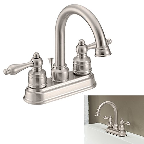 Two Handle High-Arc Bathroom Vanity Lav Faucet Swivel Spout (Nickel) - Traditional Swivel Spout