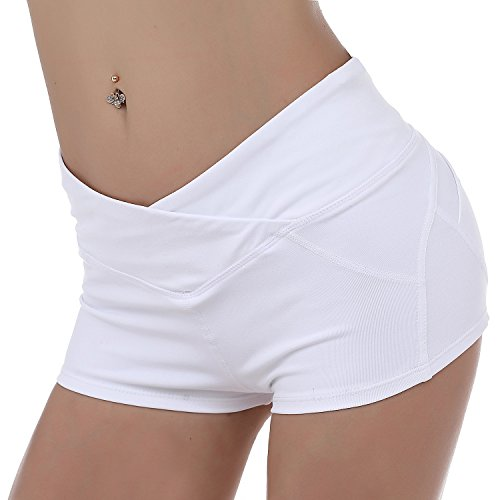 KNEEDARKYEAR Womens Stretch High Waist Athletic Yoga Shorts (Large, KD011 White)
