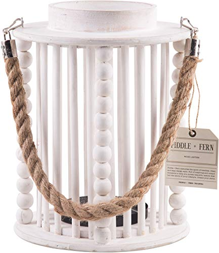 Home Essentials 10-inch High White Beaded Lantern with Rope Handle
