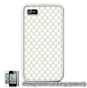 Gold Diamond Fence Pattern Apple iPhone 4 4S Case Cover Skin White