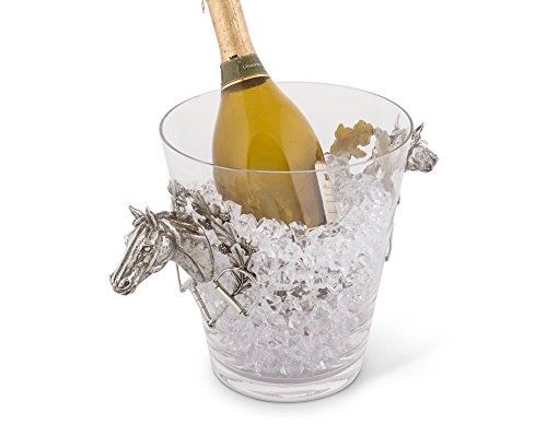Vagabond House Handblown Glass Ice/Wine Bucket with Pewter Horse Head Handles, 11'' Tall by Vagabond House (Image #2)