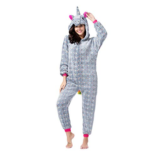 RONGTAI Adults Unisex Animal Flannel Unicorn Onesie Pajamas Cosplay Costume(XL,Grey Star Unicorn) -