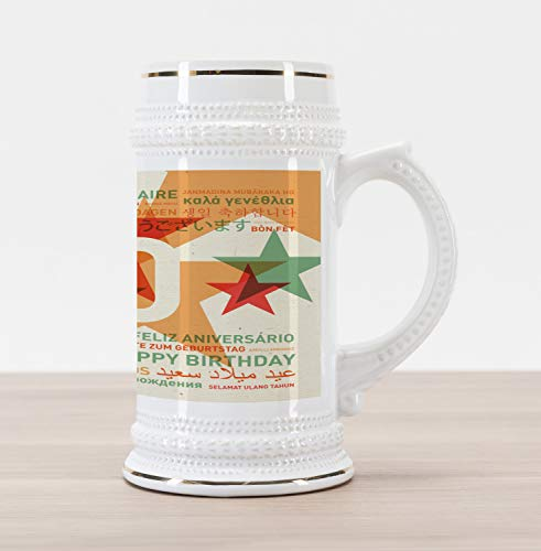 Ceramic Stein Retro - Ambesonne 40th Birthday Beer Stein Mug, Happy Birthday From All Over the World in Different Languages Retro Style, Traditional Style Decorative Printed Ceramic Large Beer Mug Stein, Multicolor