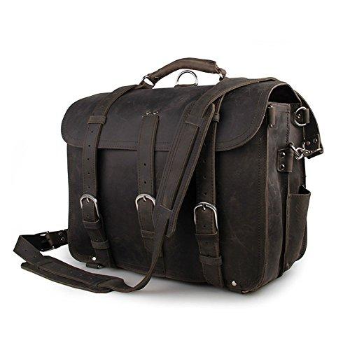 Yimidear® Männer echtes Leder-Schulter-Beutel-Aktenkoffer-Kurier-Taschen-Laptop-Tasche mit Top Handle(Gray) Gray BMDLu