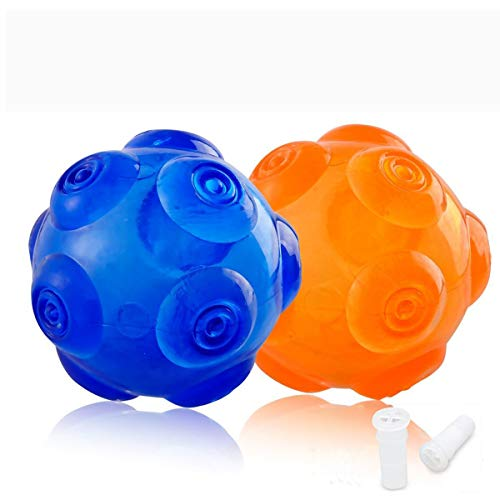 - PERSUPER 3.6 Inch Durable Pet Dog Balls Toys Rubber Indestructible Dog Toy Ball Interactive Squeak Dog Ball Training Playing, Blue and Orange for Small,Medium and Large Dogs