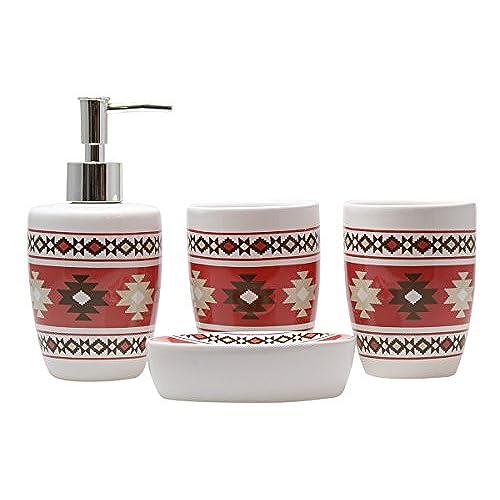 cream bathroom accessories set. Modern 4 Piece Ceramic Bathroom Accessory Set  Colorful Diamond Accessories Amazon com