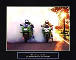 (22x28) Power Motorcycle Race Motivational Poster Print