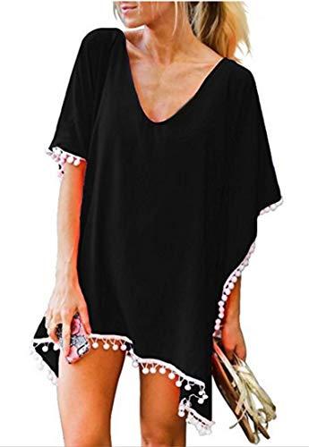 Price comparison product image Finoceans Women's Pom Pom Trim Kaftan Swimsuit Bathing Suit Cover Up Black