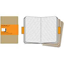Moleskine Cahier Journal (Set of 3), Pocket, Ruled, Kraft Brown, Soft Cover (3.5 x 5.5): set of 3 Ruled Journals