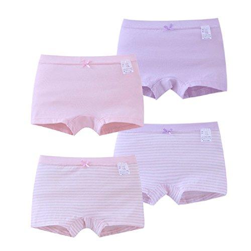 Maysunday Girls Underwear Set Kids Girls Soft Organic Cotton Brief Breathable Stripes Solid Panties 4-Pack (Boxer,12-13 - Stripe Boxer Girl