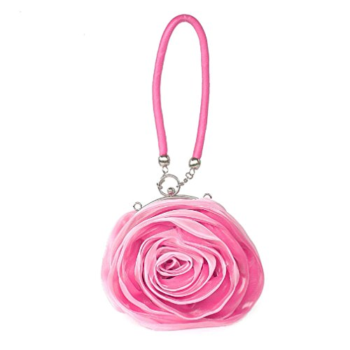 Pouch Evening Mini Dilize Silk Wrist Bag Clutch Women's Flower Rose Pink Money fqvHwSxC6