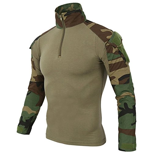 DXdesign Tactical 1/4 Zip Combat Long Sleeve T-Shirt Multicam Slim Fit Hunting Military Uniform Dry Quick (Large, Jungle)
