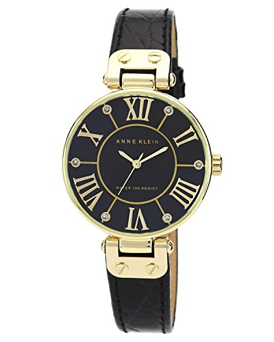 Anne-Klein-Womens-AK1396BMBK-Gold-Tone-Black-Mother-Of-Pearl-Dial-Leather-Dress-Watch