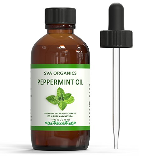 SVA Organics 100% Natural Peppermint Essential Oil -Therapeutic Grade Aromatic Oil, 4 Fl Oz with Dropper | Natural Aromatherapy Oils