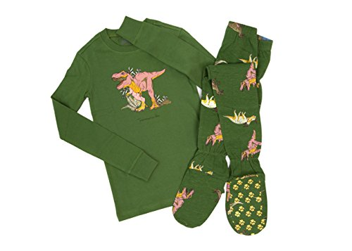 Green 2 Piece Kids Footed Pajamas Jurassic Dinosaurs Footie Pajamas