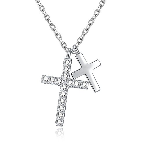 Furious Jewelry 925 Sterling Silver Personality Double Cross Pendant Necklace, Rolo Chain 16'+1'