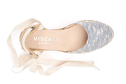 Viscata Sagaro 2,5 Coin, La Cheville-cravate Souple, Bout Fermé, Talon Classique De Espadrilles Made In Spain Tweedblue