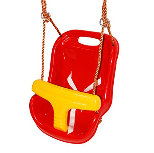 fabricado en pl/ástico rojo con cintur/ón de seguridad y cuerdas sint/éticas MASGAMES Asiento de beb/é para colgar en un columpio marca