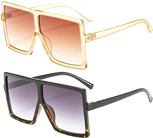 MAOLEN Oversized Square Polarized Sunglasses for Women Flat Top Shades Sunglasses ()