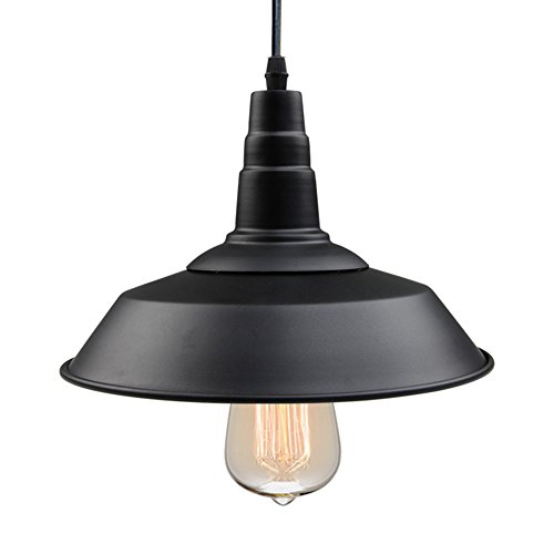 LNC A0190701 Indoor Pendant Ceiling Barn Light Warehouse, Black