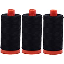 Aurifil Mako 50wt Thread 3 Large Spools: Black (2692x3)