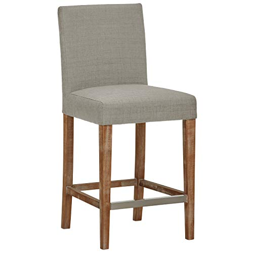 Stone & Beam Hartford Modern Denim-Style Fabric Kitchen Counter Bar Stool, 40.5 Inch Height, Brushed Smoke Legs, Dove Grey