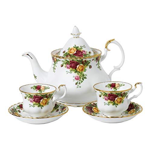 Royal Albert Old Country Roses 40034978-Juego de te para Dos (5 Piezas, Porcelana Fina, 1,25 L), Color Blanco, 1 25 litros, procelana de Ceniza de Hueso, multicolor