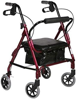 カート・ワゴン ウォーカー昔ながらの食べ物は小さなプルカート折りたたみウォーカー四輪ショッピングスクーターに座るためにプッシュすることができます (Color : Red, Size : 45*45*83-94cm)