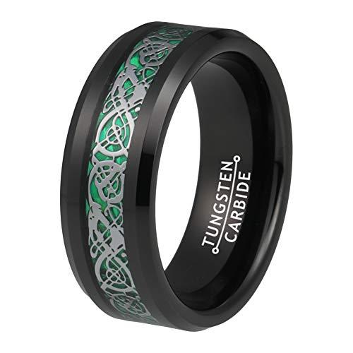 BestTungsten 8mm Black Wedding Bands for Men Women Tungsten Carbide Rings Green Carbon Fiber Silver Dragon Inlay