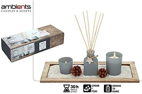 Vela/Difusor Natural para Decoración Navideña, realizada en Cera, con Jardín Zen. Diseño SPA, Estilo Festivo - Hogar y Más: Amazon.es: Hogar