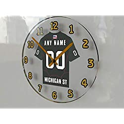 FanPlastic Big Ten College Football - Personalized Wall Clocks - Size 12 X 12 X 2 - Any Name, Any Number, Any Team !!! (Michigan State)