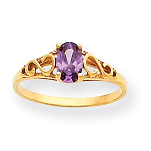 14k Gold Synthetic Amethyst Ring - Size 5