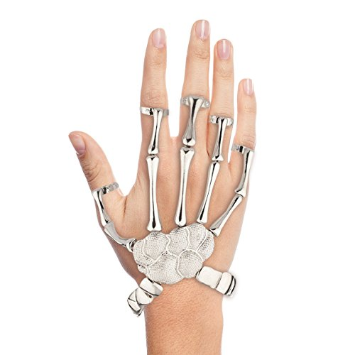 Lux Accessories Skeleton Moveable Hand Stretch Bracelet Slave -