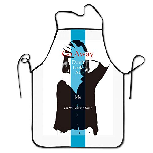 (indeaxwory Don't Look at Me Go Away I'm Not Adulting Today Design Cooking Funny Apron for Kitchen BBQ Barbecue Cooking Grilling Tailgate Bacon)