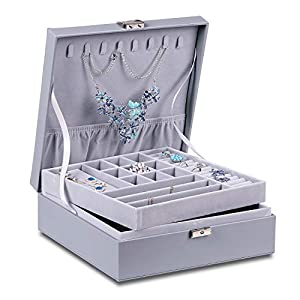 misaya Women Jewelry Box Organizer 2 Layer Large Lockable Display Jewelry Holder for Earring Ring Necklace, Gray