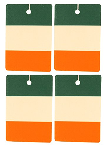 Set of Four Irish Flag Air Fresheners, Vertical, Green Clover and (Vertical Irish Green)