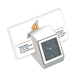 Marketing Innovations Intl Desk Clock with Business Card Holder, Hold Up to 30 Business Card, Silver