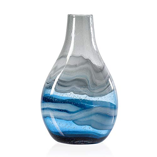 Torre & Tagus Andrea Hand Blown Swirl Glass Bulb Vase for Home Decor Living Room Centerpiece & Home Office, Tall, Blue