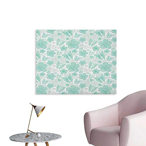 - Anzhutwelve Turquoise Wallpaper Flowers Butterflies Leaves Pattern Springtime Romantic Design Nature Custom Poster Turquoise Seafoam Pearl W36 xL24