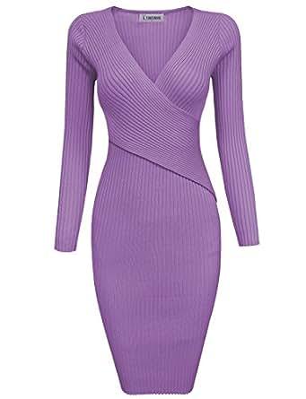 Tom's Ware Womens Stylish Surplice Wrap Bodycon Knit Midi Dress TWCWD157-PURPLE-S