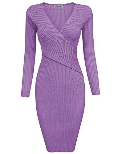 Tom's Ware Womens Stylish Surplice Wrap Bodycon Knit Midi Dress - Purple Tom
